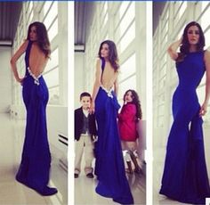 Chic High Neck Prom Dress with Ruffle-detailed Open Back, Royal Blue Long Prom Dress, Backless Prom Dresses,Sexy prom dress Royal Blue Prom Dresses, Open Back Prom Dresses, Prom Dresses 2015, Backless Prom Dresses, Sexy Dresses, Prom Gowns, Dress Long, Dress Prom, Party Dresses