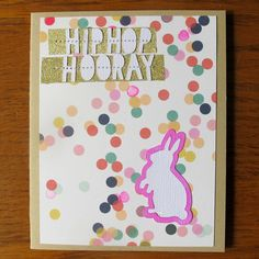 Hip Hop Hooray Easter Card-Handmade Easter card is perfectly sweet and a little bit funny. Perfect for anyone who appreciates a little 90's hip hop throwback. 4.00