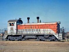 Western Pacific Railroad, EMD SW9 diesel-electric switcher locomotive in Stockton, California, USA
