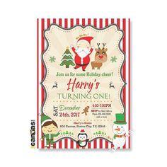 christmas party invitation santa reindeer kids winter