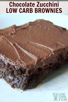 Everyone loves these super moist chocolate zucchini low carb brownies. Topped with a sugar-free chocolate frosting, these zucchini brownies are a winner. | LowCarbYum.com via @lowcarbyum