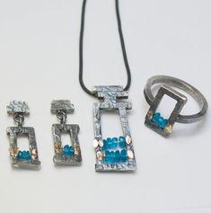 Schmuckset aus Silber mit Gelbgold und Apatitsteinen Gold, Personalized Items, Gemstones, Handmade Jewelry, Objects, Necklaces, Silver, Yellow