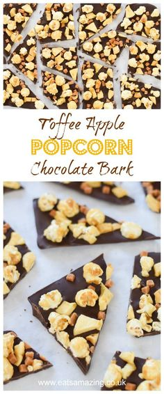 Quick and easy Toffee Apple Popcorn Chocolate Bark recipe - perfect for a bonfire night treats - Eats Amazing UK Candy Recipes, Fall Recipes, Snack Recipes, Dessert Recipes, Snacks, Budget Recipes, Holiday Recipes, Chocolate Bark, Chocolate Desserts
