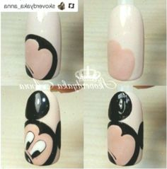 Nails Art Tutorial Disney Ideas - Best My ideas Gel Nail Art, Nail Manicure, Diy Nails, Cute Nails, Cute Nail Art Designs, Creative Nail Designs, Creative Nails, Mickey Mouse Nail Art, Mickey Mouse Nails
