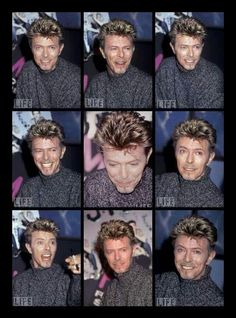 """September 26, 1995. David Bowie at HMV Records store in Manhattan for the promotion of """"Outside""""."""