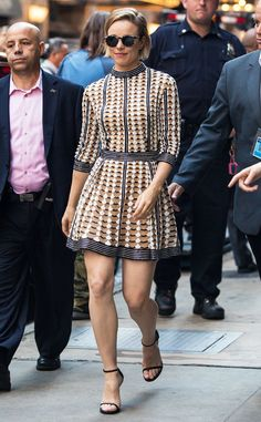 Rachel McAdams most definitely turned heads in a fabulous patterned frock, topped off with retro round sunnies!