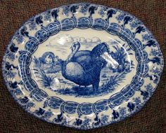 """Antique flow blue """"Florence"""" turkey platter, from a turkey set made by the Bishop & Stonier Pottery Company of England, circa 1891."""