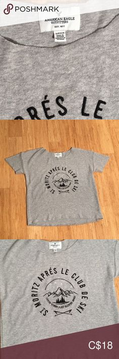 American Eagle T-shirt size small American Eagle super soft T-shirt. EUC, no pilling, it's like it's never been worn. Rough seams on neck and hem. American Eagle T Shirts, American Eagle Outfitters Tops, Gray Color, Plus Fashion, Tees, Sleeves, Mens Tops, Closet, Things To Sell