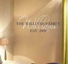 Personalized Family Name w Est Date Vinyl Wall Decal