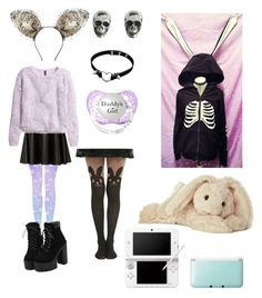 """""""I'm scary I promise"""" by phoebe-chute ❤ liked on Polyvore featuring Maison Michel, Cameo Rose, King Baby Studio, Cotton Candy, H&M, Nintendo, little, PastelGrunge, ddlg and petplay"""
