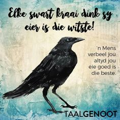 Elke swart kraai dink sy eier is die witste Wise Quotes, Qoutes, Afrikaans Language, Afrikaanse Quotes, First Language, Idioms, True Words, Beautiful Words, Laugh Out Loud