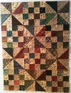 What a great scrap pattern - love it because I didn't even see the windmills at first. This would be an easy one to cut and sew & scrap quilts are my favorite. Primitive Quilts, Pinwheel Quilt, Country Quilts, Miniature Quilts, Doll Quilt, Quilting Designs, Quilting Ideas, Quilt Patterns, Baby Quilts