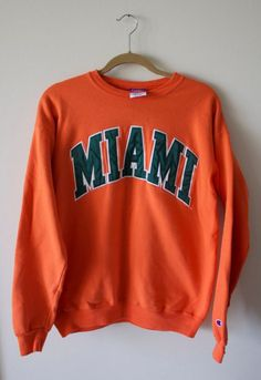 Vintage University of Miami Sweatshirt by CapItOffVintage on Etsy Teenager Outfits, College Outfits, College Wear, School Outfits, Sweatshirt Outfit, Crew Neck Sweatshirt, Mein Style, College Hoodies, Cute Sweatshirts