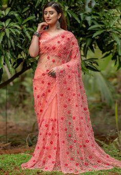 Net Blouses, Back Neck Designs, Net Saree, Saree Look, Pink Saree, Beautiful Saree, Indian Sarees, Sarees Online, Saree Blouse