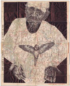 MArk Powell creates  beautifully detailed portraits on old vintage maps that tell a greater story.