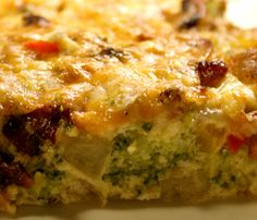 Oven baked omelet.These squares of Spanish omelet,flavoured with bell peppers and ham,are delicious warm and cold.