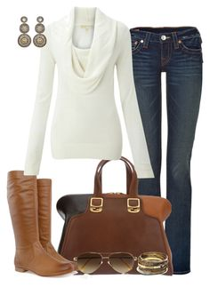 Untitled #50 by partywithgatsby on Polyvore featuring MICHAEL Michael Kors, True Religion, Frye, Fendi, Amrita Singh, Suzanna Dai, Cutler and Gross, top handle bags, skinny jeans and aviator sunglasses