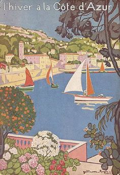 Colorful vintage French travel poster with sailboats. Winter in the Cote d'Azure, France. Hiver a la Cote d'Azur.