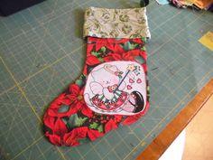 Stocking Poinsettia Christmas Kitty Christmas Stocking