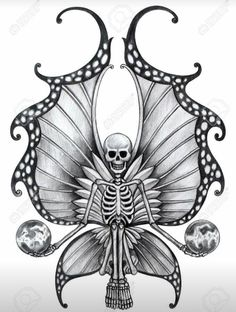 Picture of Skull Fairy Tattoo. Hand Drawing on paper. stock photo, images and stock photography. Skull Butterfly Tattoo, Butterfly Drawing, Butterfly Tattoo Designs, Fairy Tattoo Designs, Skull Tattoo Design, Sugar Skull Tattoos, Sugar Skull Art, Body Art Tattoos, Hand Tattoos