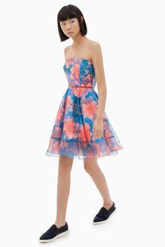 Vestido palabra de honor floral - LABEL_NUEVO | Adolfo Dominguez shop online