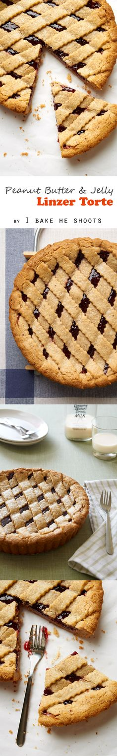 Peanut Butter & Jelly Linzer Torte - it's like a PB&J sandwich with a cookie crust. Tart Recipes, Almond Recipes, Good Pie, Pudding Pies, Cookie Crust, Baking Flour, Sweet Tarts, Cream Pie