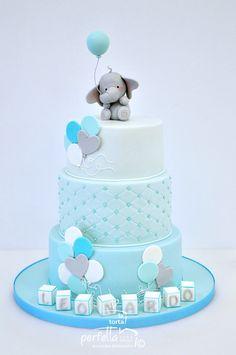 Elephant Birthday Cakes, Elephant Baby Shower Cake, Elephant Cakes, Baby Shower Cakes For Boys, Baby Boy Cakes, Baby Shower Wall Decor, Girl Baby Shower Decorations, Gateau Baby Shower, Baby First Birthday Cake