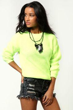 Boohoo Lisa neon green boat neck knit jumper | eBay UK