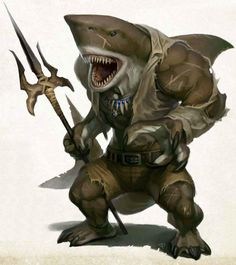 WereShark pirate coastal sea island docks Meet the most diverse and fucked up pirate crew in all of d&d Fantasy Warrior, Fantasy Races, Fantasy Rpg, Medieval Fantasy, Fantasy Artwork, Fantasy Character Design, Character Inspiration, Character Art, Fantasy Monster