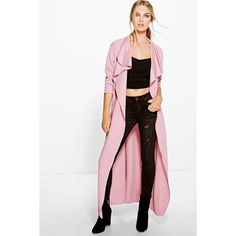 Boohoo Katie Maxi Belted Shawl Collar Duster ($22) ❤ liked on Polyvore featuring outerwear, coats, maxi coat, white coat, shawl collar coats and belted coat
