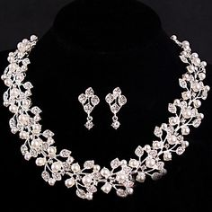 Women's Silver/Alloy Wedding/Party Jewelry Set Earring Necklace Bracelets With Rhinestone White Pearls For Bridal – USD $ 24.99