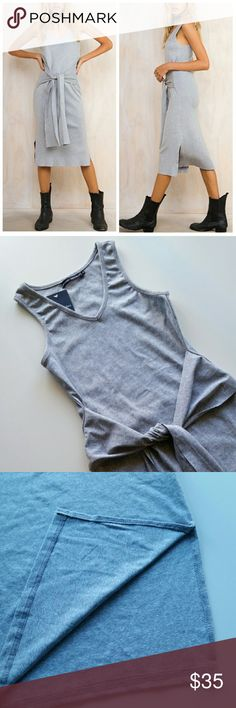 """Gray Waist Tie Bodycon Dress Gray Waist Tie Bodycon Dress  *Light Gray Color *Stretchy Cotton Fabric  *Waist tie & side slit *Size Medium  /Pit to pit : 14"""" flat  /Length : 39.5"""" *Runs tight. This will fit medium as a bodycon and if you want it to fit more like a covershot, recommend for small or x-small figures. Therefore listed as small *New  *No trade Please @alexiscb  Dresses"""