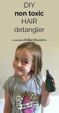 DIY non-toxic hair detangler made with orange, rosemary, and lavender essential oils