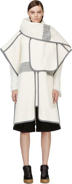 Chloé Ivory & Grey Alpaca Wool Blanket Coat
