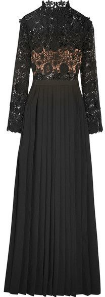Self-Portrait - Mia Guipure Lace And Pleated Crepe Gown - Black https://api.shopstyle.com/action/apiVisitRetailer?id=603348256&pid=uid8721-33958689-52