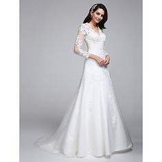 2017+A-line+Wedding+Dress+Court+Train+V-neck+Satin+/+Tulle+with+Appliques+–+USD+$+169.99