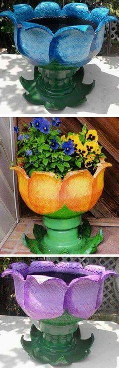 Tire Flower Planter Tutorials is part of Old Flower crafts These easy Tire Flower Planter Tutorials are a great way to recycle old tires and they& add a special touch to your garden - Tire Planters, Flower Planters, Flower Pots, Flowers, Garden Planters, Tyres Recycle, Diy Recycle, Recycled Tires, Recycled Art