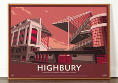 The original 60 x 80cm version of our Highbury print which pays homage to Arsenal's much loved home from 1913 to 2006. Highbury was originally designed by Archibald Leitch and then significantly redesigned in the Art Deco style in the1930s by Claude Waterlow Ferrier and William Binnie. Ars...