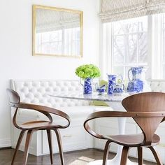 Window Seat Banquette with Drawers, Transitional, Dining Room, Carrie Hatfield Interior Design