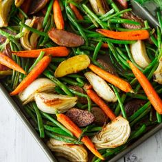 Roasted fennel, carrots, fingerling potatoes, green beans and asparagus make for a healthy and delicious veggie side dish.