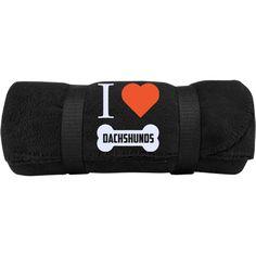 Dachshund - I LOVE MY Dachshund (BONE DESIGN) -  Fleece Blanket (Embroidered)