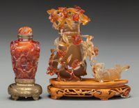 A Chinese Carved Agate Snuff Bottle and Miniature Vase, 20th century 4-1/8 inches high (10.5 cm) (vase without sta