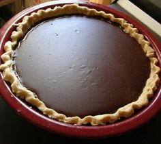 Grandma's Chocolate Pie add some fresh whipped cream yum!  I changed it up some I used 1 cup of milk and 1 cup of evaporated milk.  About 1/2 tablespoon more cocoa!  It was the best chocolate pie I have ever made!  I also put cool whip on top!