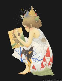 reader by Rie Nakajima Children's Book Illustration, Book Nerd, Figure Painting, Pattern Art, Japanese Art, Love Art, Book Lovers, Storytelling, Fantasy Art
