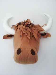 HAMISH HIGHLAND COW - Faux Taxidermy Fabric Wall Mounted Animal Head on Etsy, $95.02