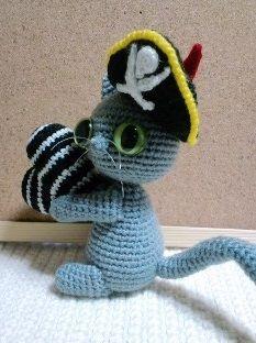 gato pirata amigurumi pagina japonesa