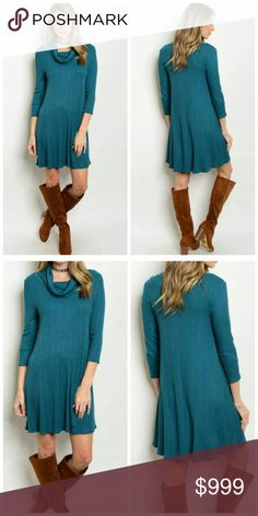 """Cowl Neck Dress 3/4 sleeve cowl neck slub knit loose tunic dress. In beautiful jade color. 100% polyester. Measurement for size S for reference: Length: 34"""", Bust: 32"""", Waist: 32"""". Size S-M-L available. Very forgiving with stretch. Pair with tights, boots for a nice winter look! Price FIRM unless bundled. Unity Blend Dresses"""