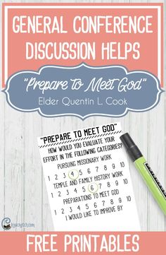 """Discussion helps for """"Prepare to Meet God"""" by Elder Quentin L. Cook"""