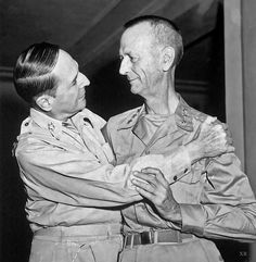 31 Aug Lt General Jonathan Wainwright, the highest-ranking American POW of the war, is reunited with Gen Douglas MacArthur at the New Grand Hotel in Yokohama, Japan, after more than three years of brutal captivity by the Japanese. WWII (V) World History, World War Ii, Churchill, United States Military Academy, Douglas Macarthur, Global Conflict, Interesting History, Military History, American History