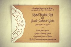 Custom Vintage Lace Doily Wedding Invitations with by postscripts, $1.00